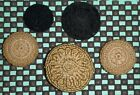 5 Antique Handmade Crochet Buttons black and beige colors