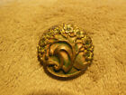 ANTIQUE VINTAGE ART NOUVEAU GOLD TONE METAL COLORED BUTTON DOGWOOD TREE