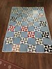 ANTIQUE HAND PIECED AND QUILTED BLUE SHIRTING PRINT QUILT ~ 56 X 80