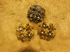 LOT OF 3 ANTIQUE VINTAGE METAL BUTTONS OPEN WORK CUT STEEL GOLD