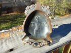ART NOUVEAU ASHTRAY BRONZE FINISH / SPELTER WITH CLASSIC MOTIF -MAIDEN - FLOWERS