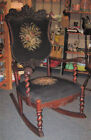 ANTIQUE STUNNING NEEDLEPOINT ROCKING CHAIR