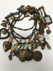 Vintage Glass Works Studio 35 Charm Necklace hearts crystals lots of charms