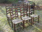 Set of 6 vintage ladder-back rush seat dining room chairs