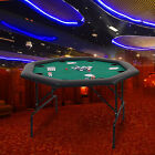 48 Octagon Folding Texas Poker Table Casino Game for 8 Players Green