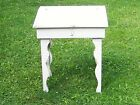 Primitive Antique Americana Folk Art Small Slant Top Desk Fancy Legs White Paint