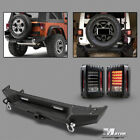 Rear Bumper Rock Crawler  Hitch Receiver for Jeep Wrangler JK w LED Tail Lights