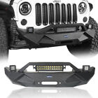 Iron Blade Front Bumper 2X LED Light winch Plate For Jeep Wrangler JK 07 18