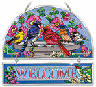 Cardinal Blue Jay Goldfinch Welcome Sun Catcher Hand Painted Beveled Glass AMIA