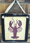 Nautical Lobster Hanging Wall Sign Plaque Primitive Rustic Lodge Cabin Decor