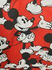 Vintage Disney Mickey Mouse Flat Sheet Red Black White Twin or Full Craft Fabric