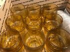 Vintage Amber Glass Juice Glasses Honeycomb Set of 9