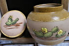 MID CENTURY Western Covered Tobacco / Ginger JAR Painted Glass Pottery lk Cactus
