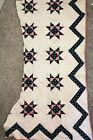 Indigo And Pink Antique Quilt Cutter Piece Stars Early 1800S Heavy Quilting
