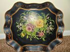 Antique Chippendale Style Large Tole Toleware FLoral Shabby Chic Metal Tray #1