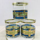 3 CULVER Empress Barware Glassware Low Ball Old Fashioned Green Blue 22K Gold