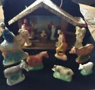 Vintage CHALKWARE Christmas NATIVITY Set w Stable 15 Pieces Religious Lights Up