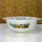 Vintage Fire King Floral Casserole Baking Dish Milk Glass Yellow Red 1.5 Qt