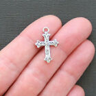 10 Cross Charms Antique Silver Tone SC2275