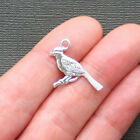 10 Bird Charms Antique Silver Tone Two Sided Cardinal SC2326