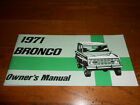 1971 FORD BRONCO OWNER MANUAL 71 OWNERS GUIDE
