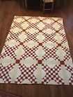 ANTIQUE QUILT RED AND WHITE SHIRTING FABRICS HAND QUILTED STAR FEEDSACK BACKING