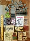 Mixed Lot 36 Wood Mounted  Cling Rubber Stamps + 2 Alphabet Sets All Kinds