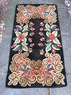 Antique Vintage Hand Made wool Hooked Rug 32 X 58 inches 1920s