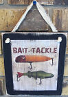 Bait and Tackle Hanging Wall Sign Plaque Primitive Rustic Lodge Cabin Decor