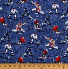 Flannel Hockey Players on Blue Sports Cotton Flannel Fabric by the Yard D28423