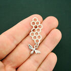 4 Honeycomb Pendant Charms Silver Tone 2 Sided With Bee Charm SC6237