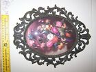 Vintage Victorian Metal Oval Picture Frame Floral Made In Italy
