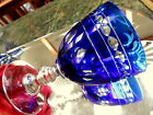 7COBALT CUT TO CLEAR 10 oz Wine Glasses Goblets Clear Ring Stem HEAVY/ WELLMADE