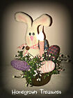 Easter! Primitive Bunny with Homespun Eggs in Rusty Pail Lamp!