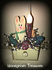 Easter! Primitive Bunny and Homespun Eggs in Small Wooden Drawer......Lighted!!