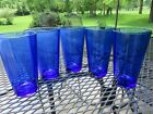 Set 5 Libbey Cobalt Blue Flared 16 oz Iced Tea Cooler Tumblers EUC LOOK