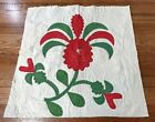 Early Album! c 1850s APPLIQUE Red Green Table QUILT Presentation Antique #3