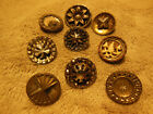 LOT OF 9 ANTIQUE VICTORIAN FANCY METAL BUTTONS ASSORTED STYLES 9/16
