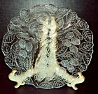 4 Vintage Indiana Glass Clear Loganberry Divided Grill Plates ~ Berries