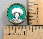 PAINTING on PORCELAIN Woman's Head BUTTON Set in Metal, 1800s Beautiful Detail