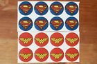 SUPERMAN WONDER WOMAN Epoxy Stickers 1 round for Bottle Caps and Craft Projects
