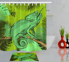 Tropical Plants Green Leaves Branch Chameleon Fabric Shower Curtain Set 72x72