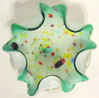 Murano Style Confetti Bowl Cased Glass Hand Blown Ruffled Lip Multicolor 6 Inch