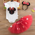 Baby Girls Minnie Mouse Party Birthday Dress Romper Tops+Skirt+Headband Outfits