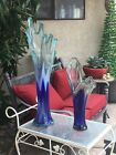 Pair Vintage XL Blue And White Swung Glass Vases