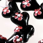 4 Lampwork Glass Opaque Black 18x18mm Heart with Pink Flower Beads