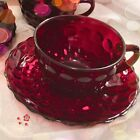 Mid-Century ANCHOR HOCKING Royal Ruby, Red-Bubble, Berry Pattern, 4 Cups Saucers
