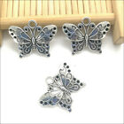 20 50pcs Jewelry DIY Butterfly Animal Antique Silver Charms Pendants 1925mm