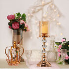 Gold Metal with Glass Crystal Candle Holder Party Wedding Home Centerpiece Gift