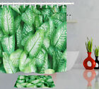 Spring Theme Exotic Rare Green Leaves Shower Curtain Set Bath Waterproof Fabric